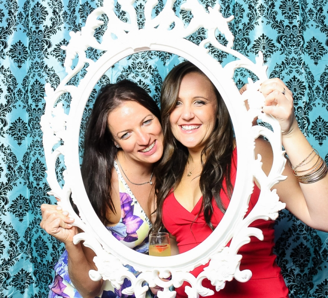 Photo Booth Newcastle Black Damask on Teal Backdrop