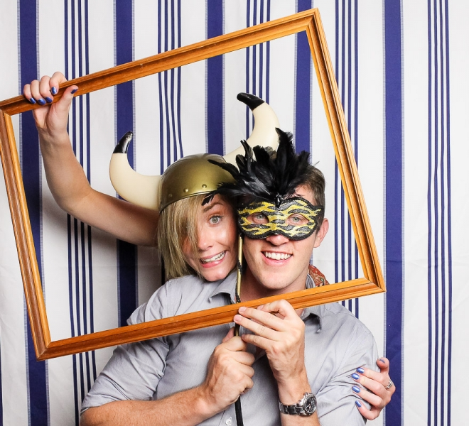 Photo Booth Newcastle Navy and White Vertical Stripes Backdrop